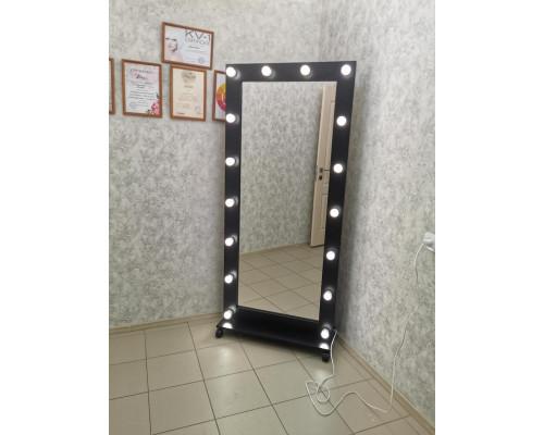 Гримерное зеркало с подсветкой на подставке 180х80 Черный