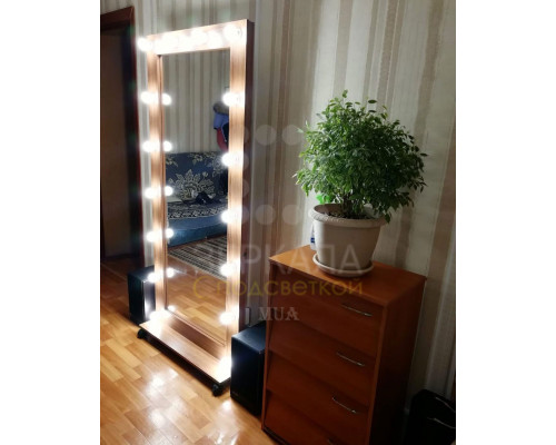 Гримерное зеркало с подсветкой на подставке 180х80 Орех