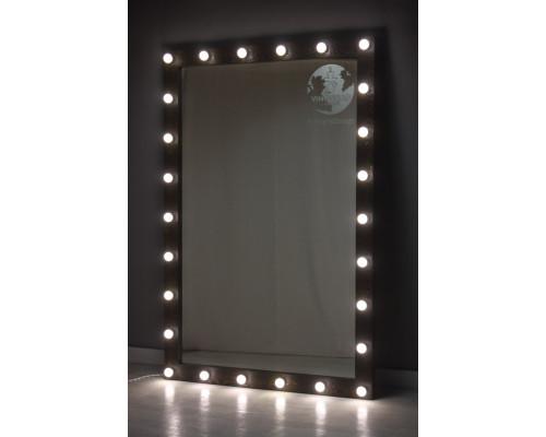 Большое черное гримерное зеркало с подсветкой 180х120
